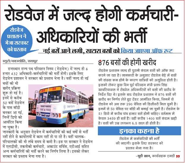 Rajasthan Roadways Vacancies 2021 – 6432 Vacancies